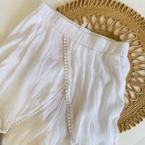 NWT Goa White Gauze Pom Pom Wide Leg Beach Pants